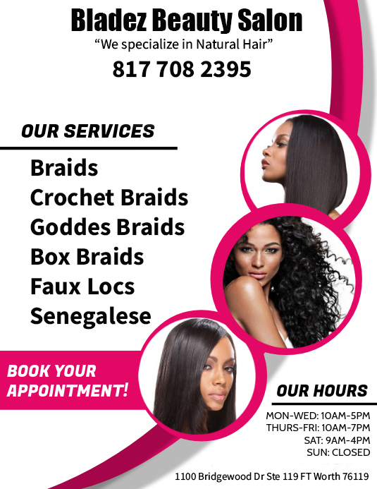 If your looking for a natural hair salon in Ft Worth give us a call!