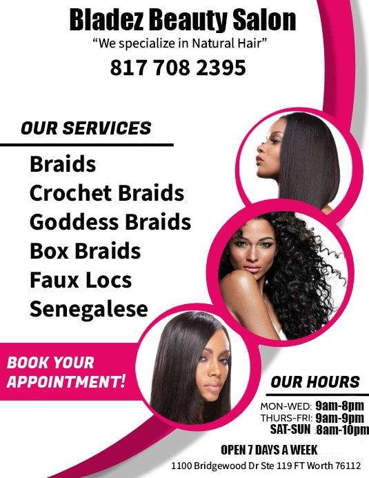 If your looking for a natural hair salon in fort worth were here to help! Bladez Barber and Beauty offers lots of services in the natural and protective style hair care