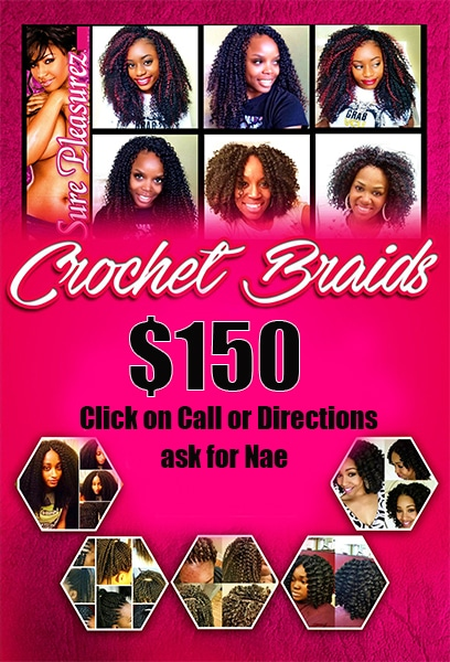 One of the top natural hair stylist in Fort Worth, Tx . Call for your free consultation. I install crochet braids and other protective styles