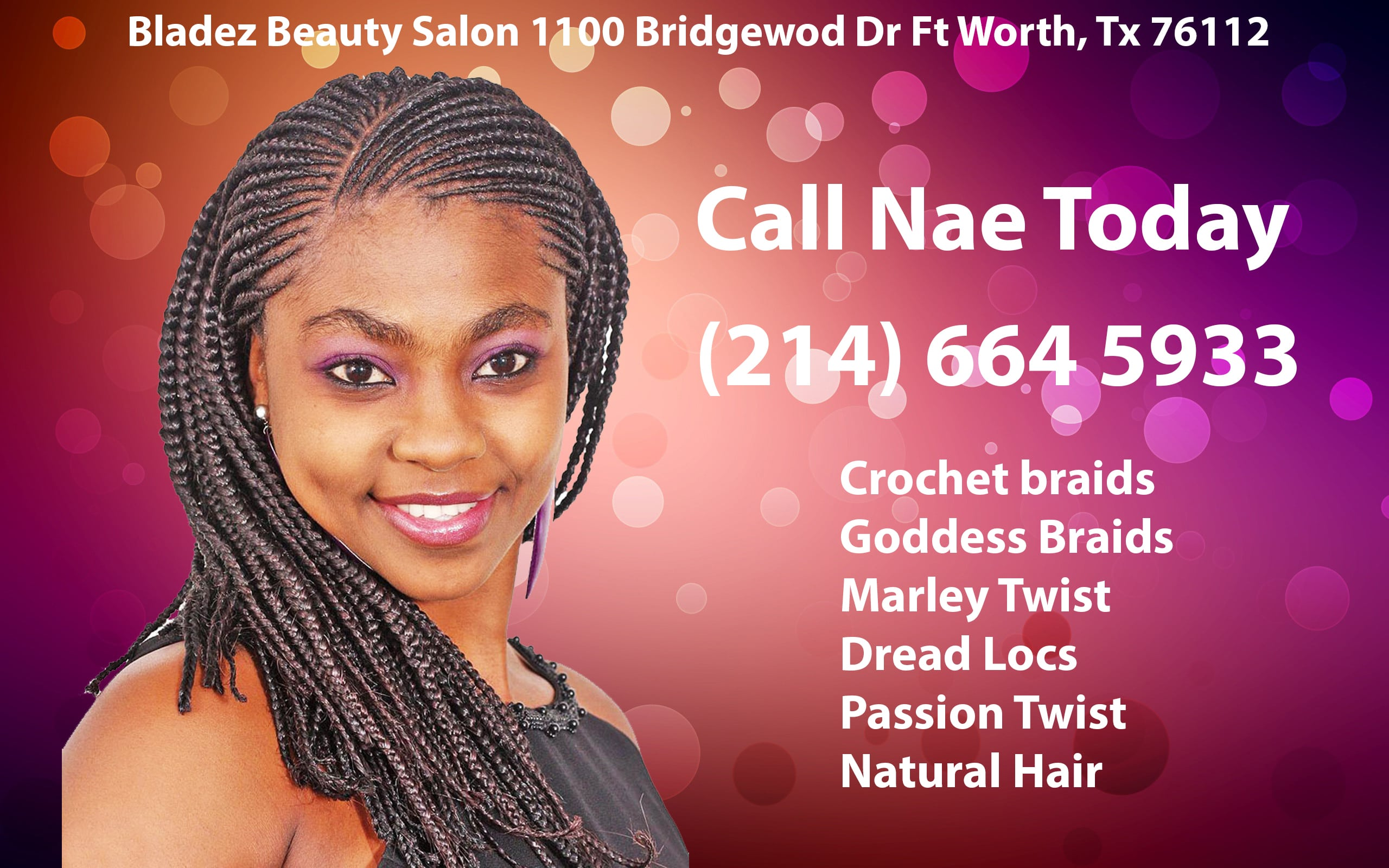 If your looking for a natural hair stylist in the fort Worth area give me a call for a free consultation