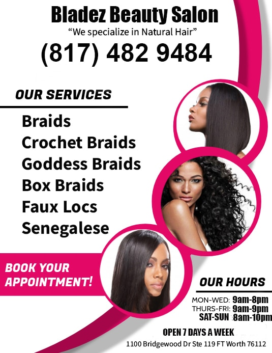 Looking for a black natural hair salon specializing in crochet braids and other protective hairstyles give us a call!